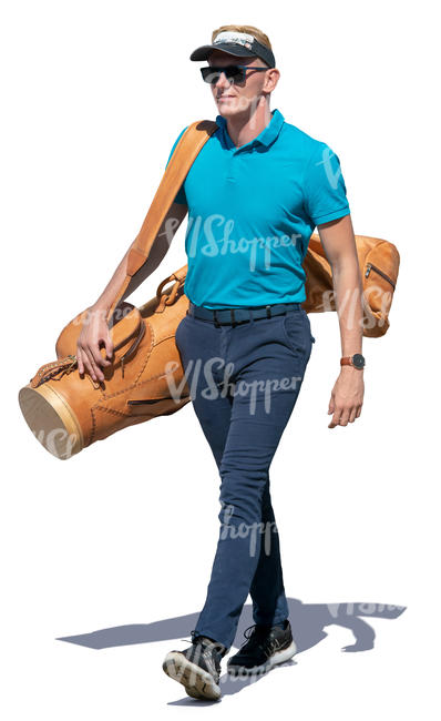 man with a golf bag walking