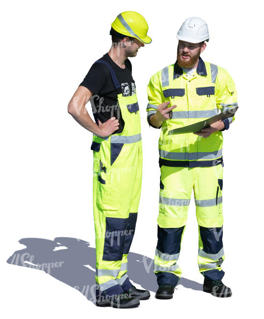 two workmen standing and talking