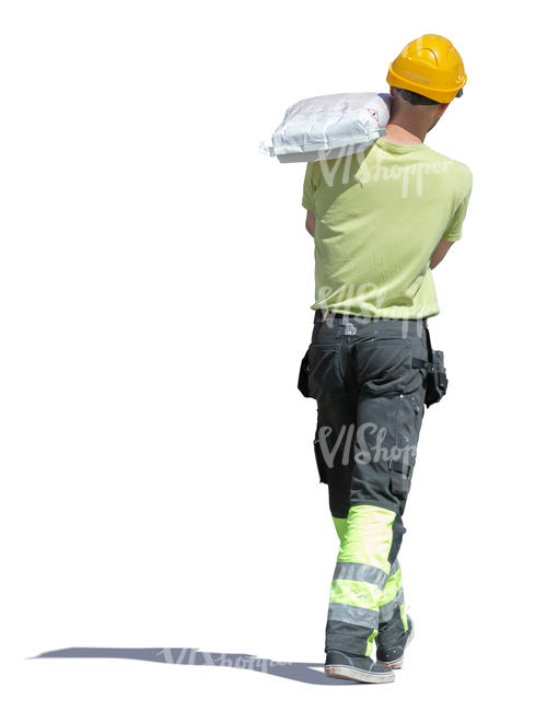 workman carrying a heavey bag