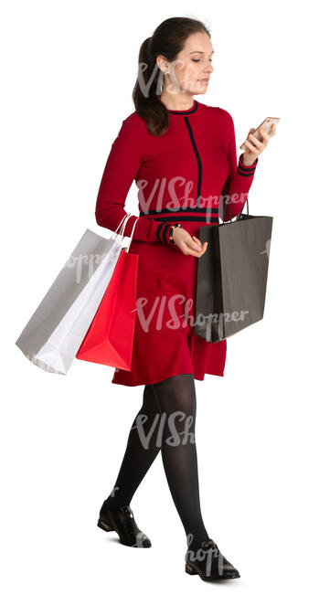 woman with shopping bags walking