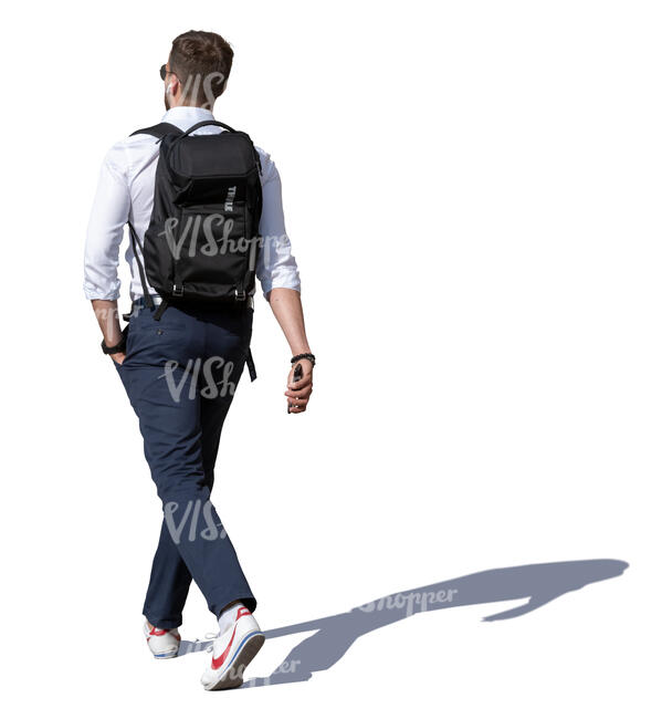 young man walking on a sunny day