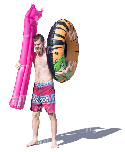 man with two floaties standing