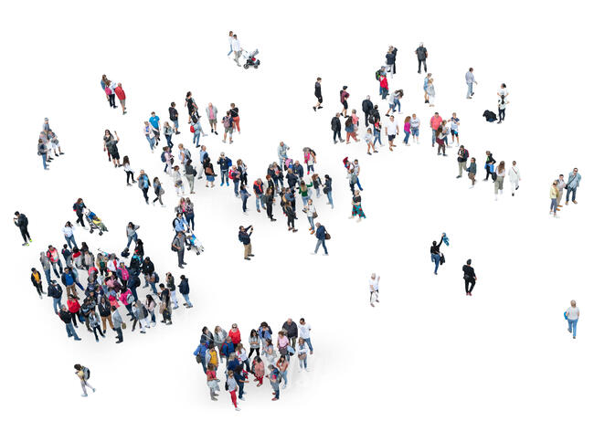 large group of people seen from above