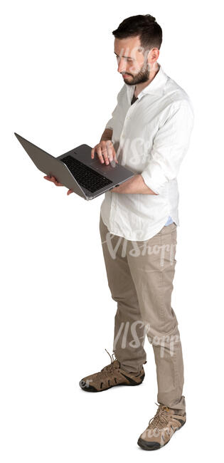 man with a laptop standing seen from above