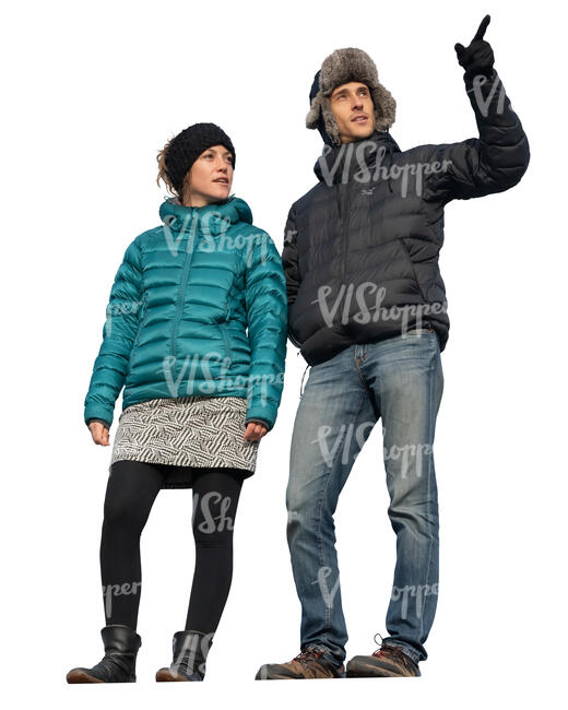 man and woman standing higher up and looking at smth