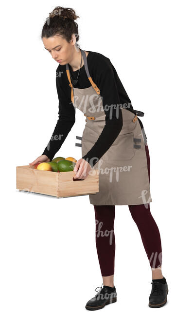 market worker carrying a crate of fruits