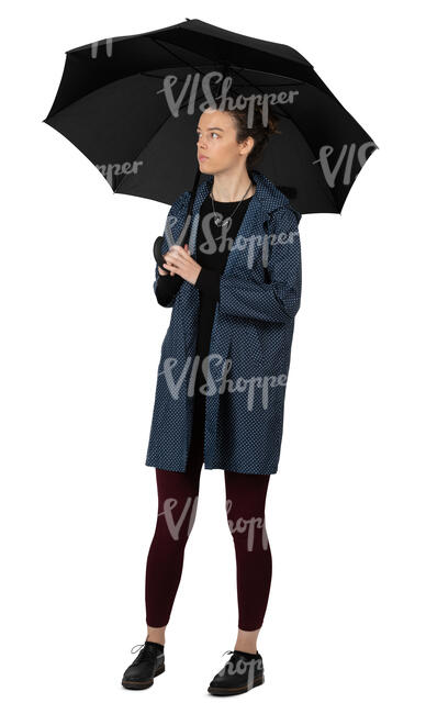 woman with un umbrella standing
