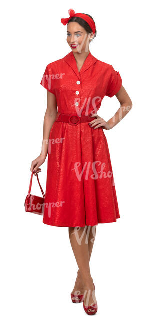 woman in a vintage red dress standing
