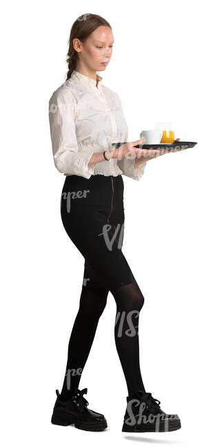 waitress with a tray walking