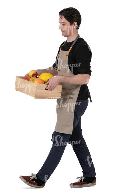 man carrying a box of fruits