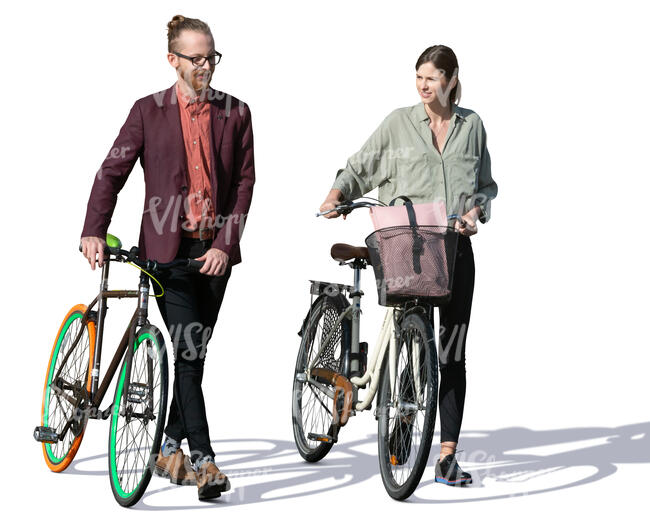 man and woman with bicycles walking