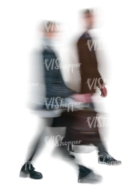 two motion blurred people walking