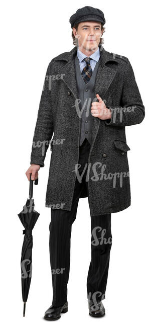 man in a grey overcoat and umbrella standing