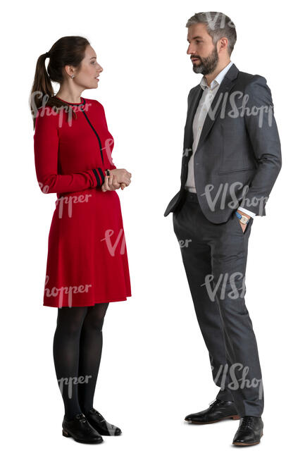 man and woman standing and talking on a formal occasion