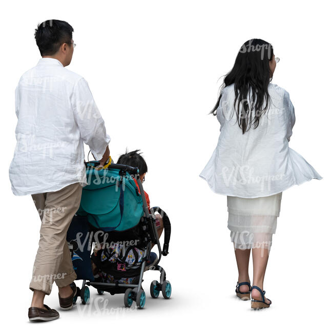 asian family of three walking on a summer day