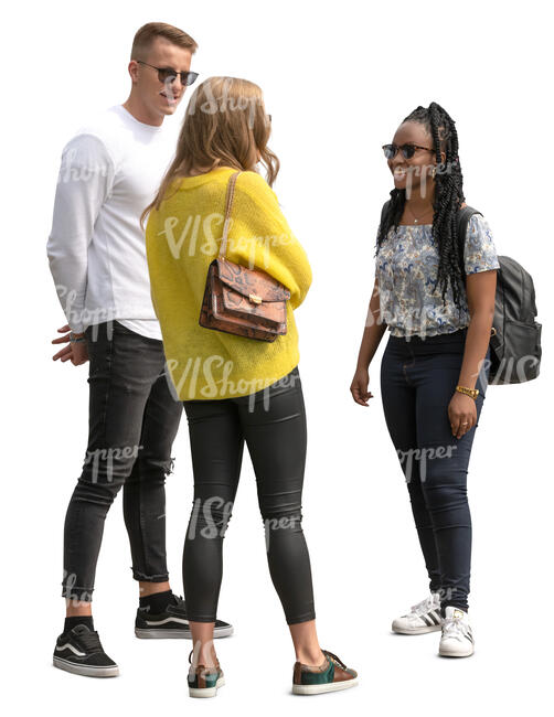 group of three young people standing and talking