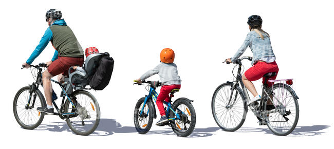 family of four riding on bicycles