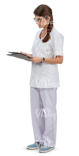 young nurse standing and reading some papers