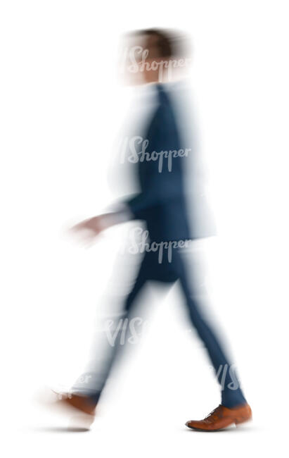 motion blur image of a man in a suit walking