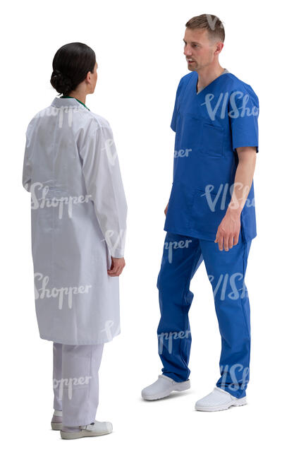 two medical workers standing and talking