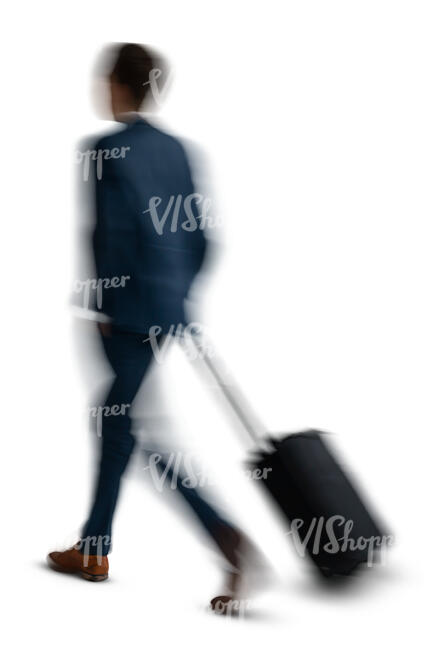 motion blur man with a suitcase walking