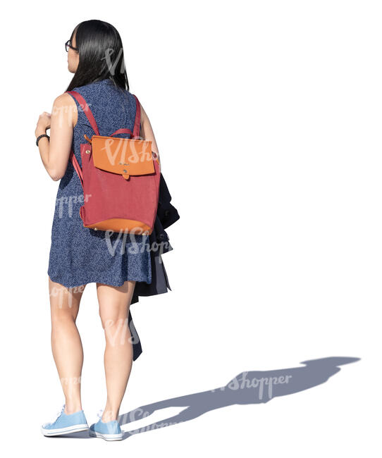 young asian woman walking on a summer day
