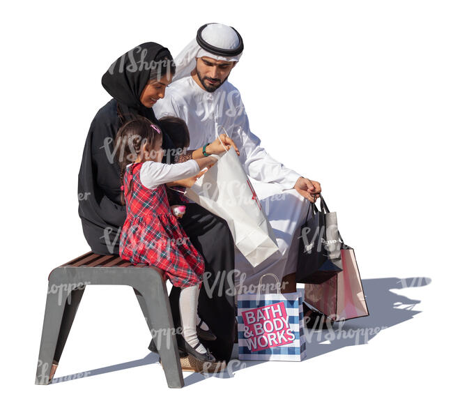 arab family with shopping bags sitting and talking