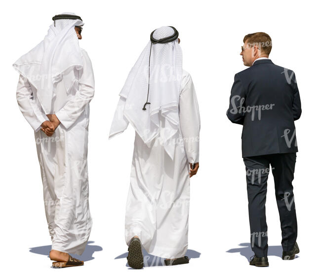 arab men walking and talking to an european businessman