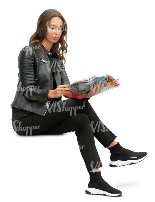 woman sitting and reading a magazine
