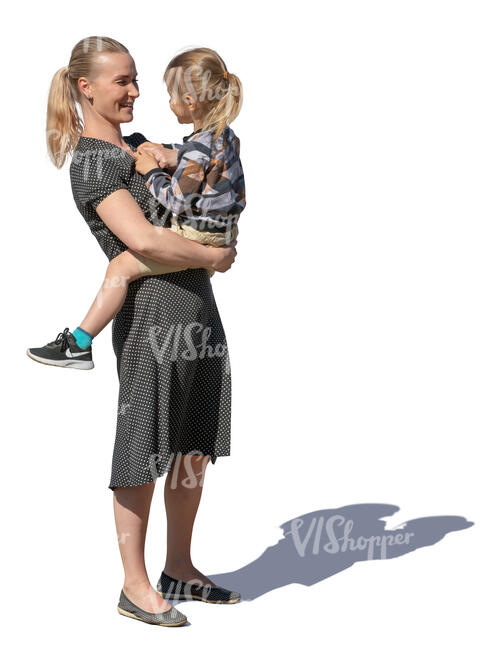 woman standing and holding her toddler child
