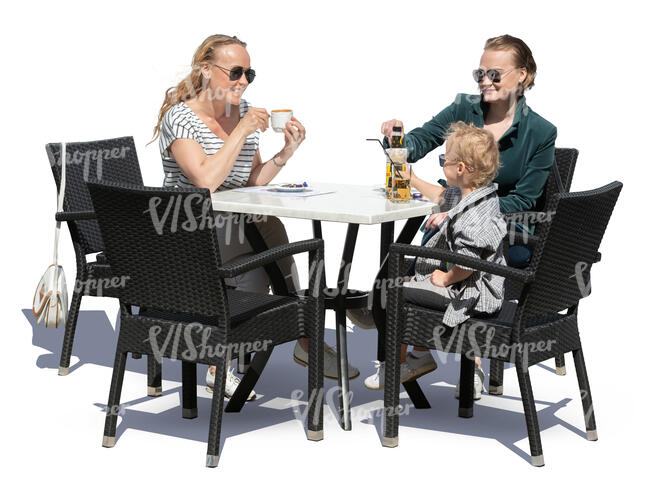 two women and a little boy sitting in a cafe