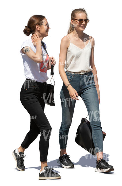two cut out young women walking and talking