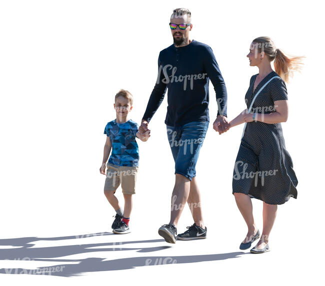 cut out backlit family of three walking