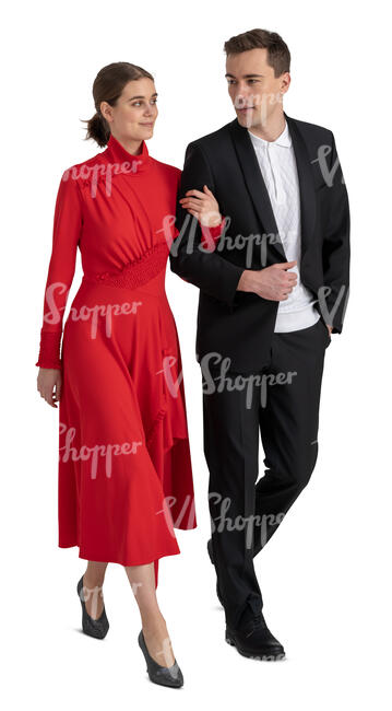 cut out couple at a party walking arm in arm