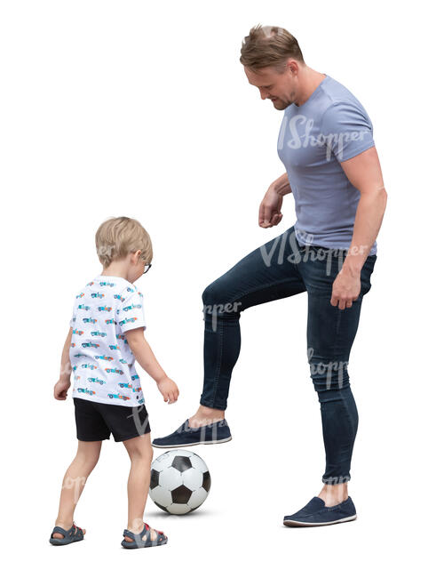 cut out father and son playing football