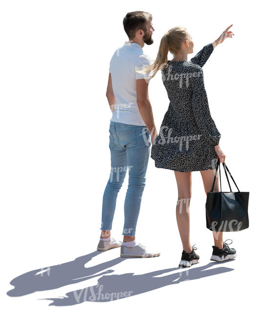 cut out backlit man and woman standing and looking at smth