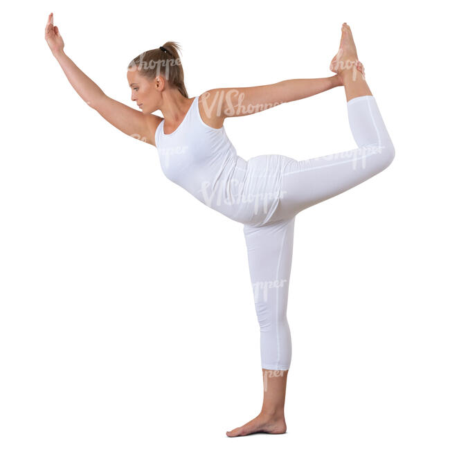 cut out woman in a white sports costume doing yoga
