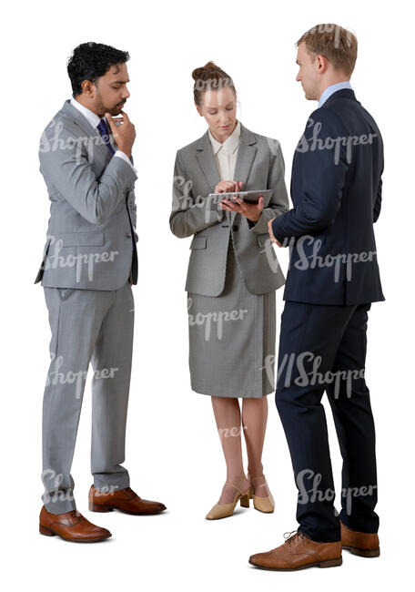 cut out group of business people standing and talking