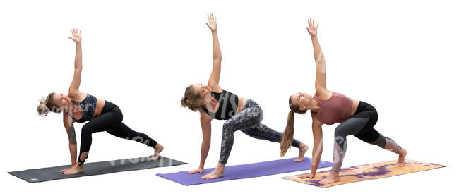 cut out group of women doing yoga exercises
