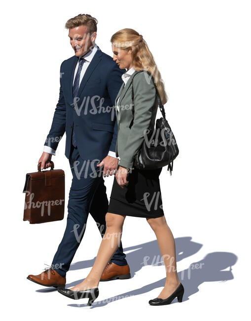 two cut out colleagues walking on the street