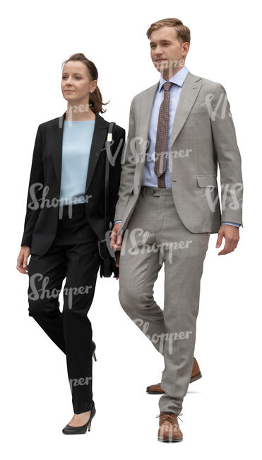 two cut out businesspeople walking down the stairs