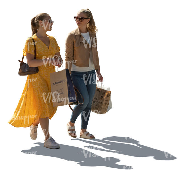 two cut out backlit young women with shopping bags walking and talking