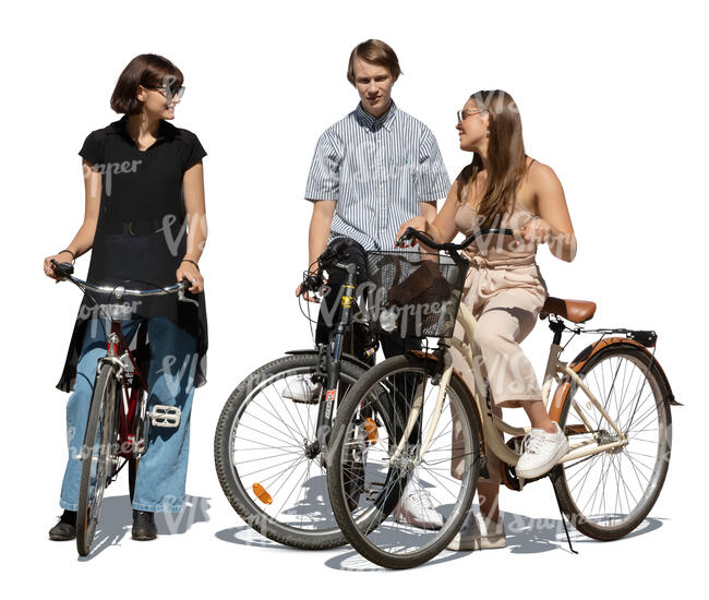 cut out three young people with bicycles standing and talking