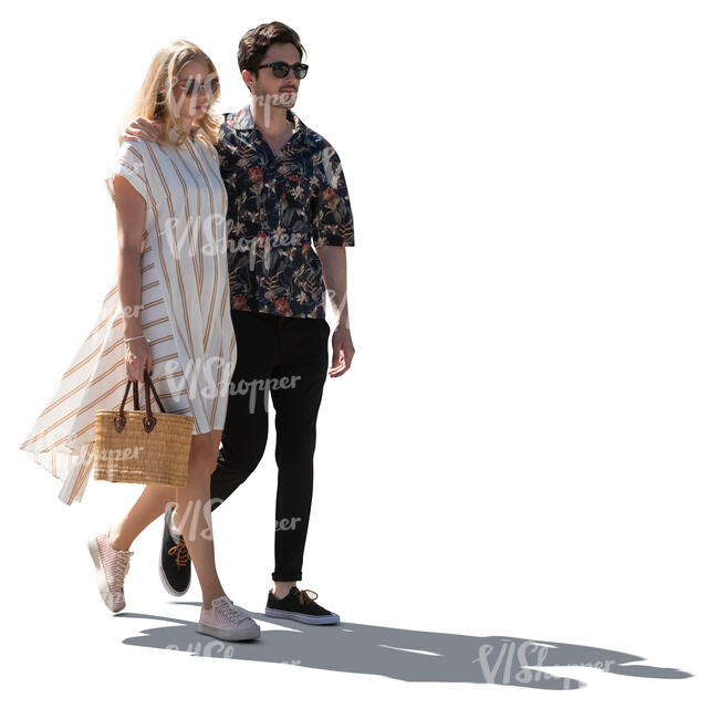 cut out backlit couple walking on a summer day