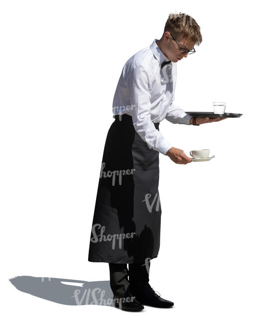 cut out young male waiter serving coffee