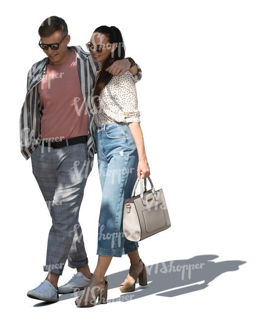 cut out couple walking in the tree shade