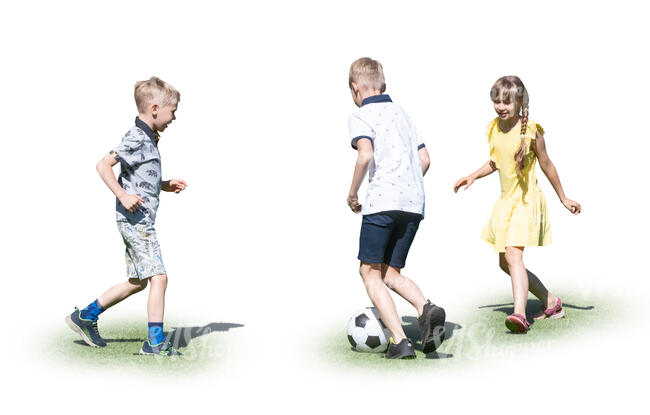 three cut out kids playing football