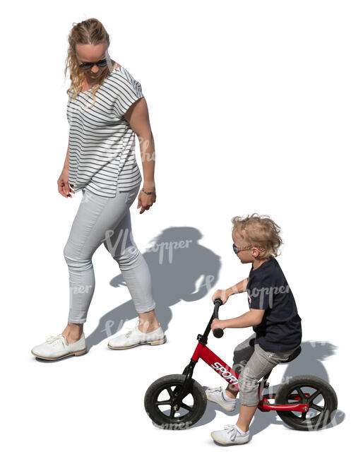 cut out mother and son with a bike walking seen from above