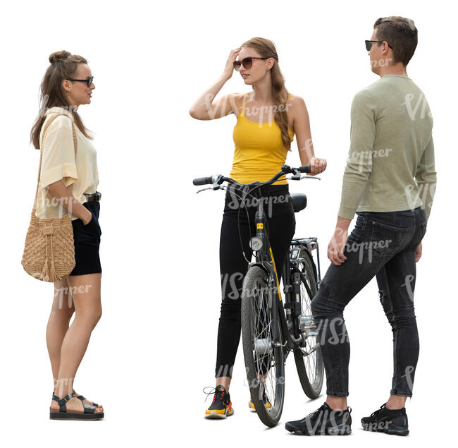 three cut out people standing and talking
