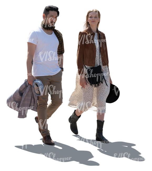 two cut out backlit people walking